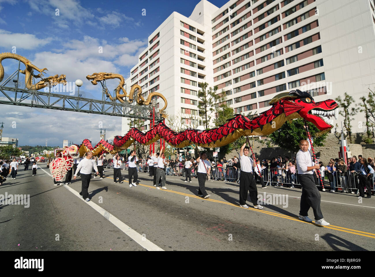 Chinese New Year parade in Chinatown of Los Angeles, California. Featuring Dragons and Lion Dancers. - Stock Image