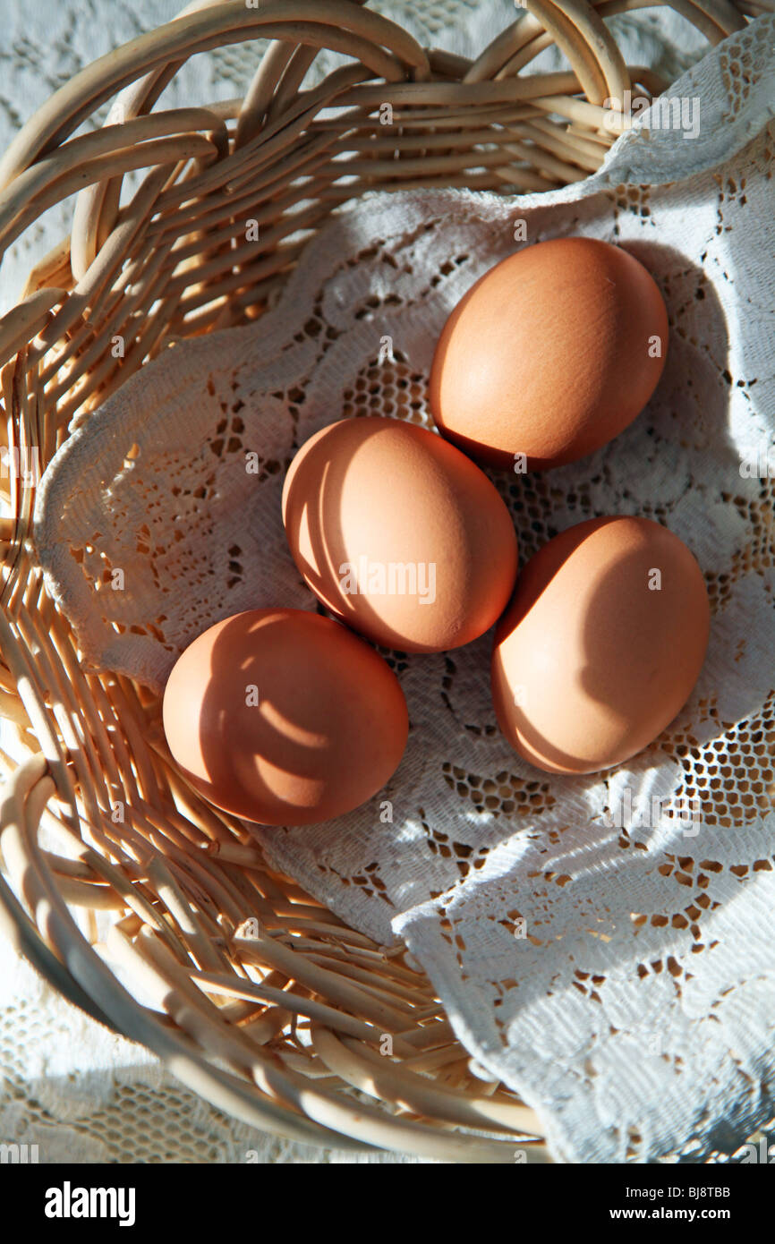 Organic brown eggs from cage free, free range chickens fed a vegetarian diet in a hand woven reed basket in morning - Stock Image