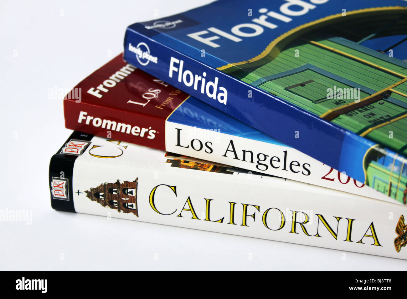 USA Guide books in a stack - Stock Image