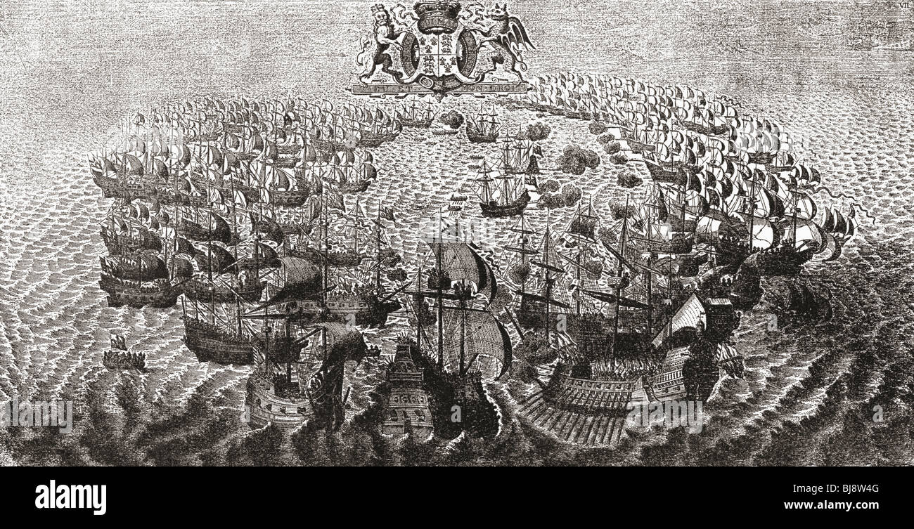 Fight between The Spanish Armada and the English Fleet off the Isle of Wight, 1588. - Stock Image