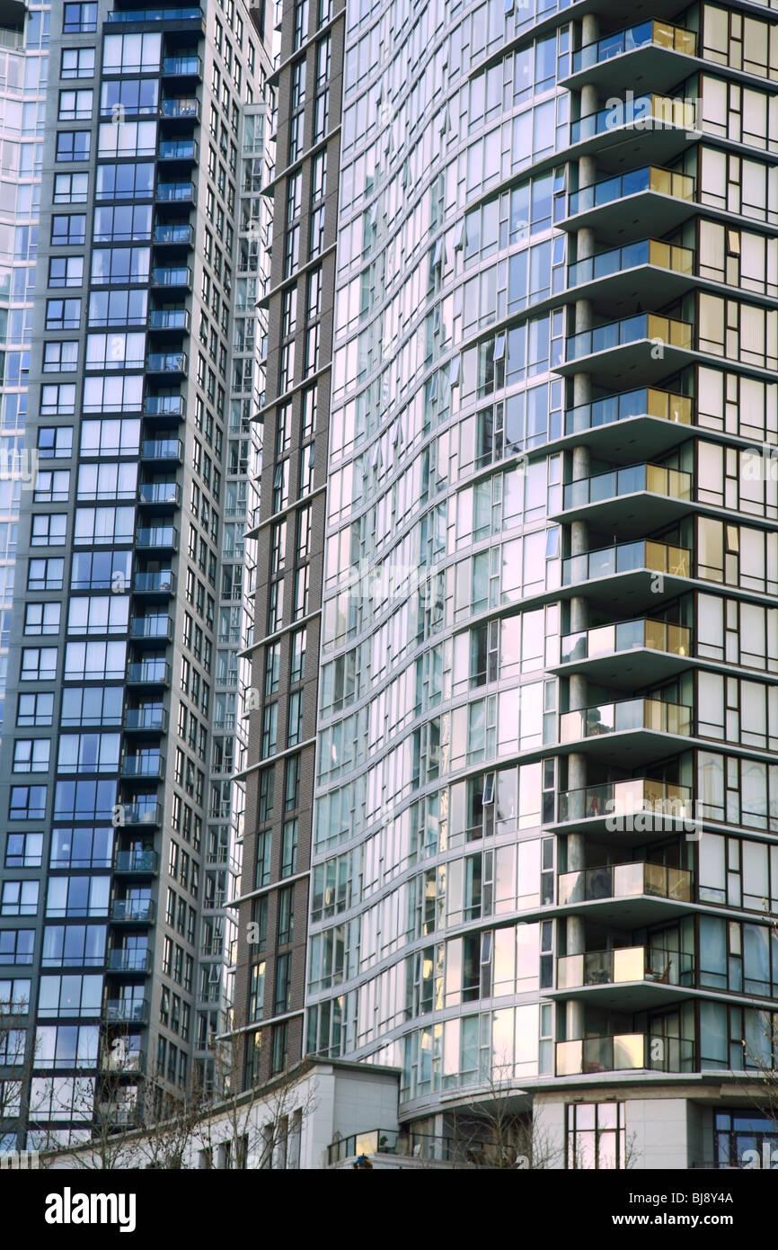 Detail of hi-rise, False Creek, Vancouver, BC - Stock Image