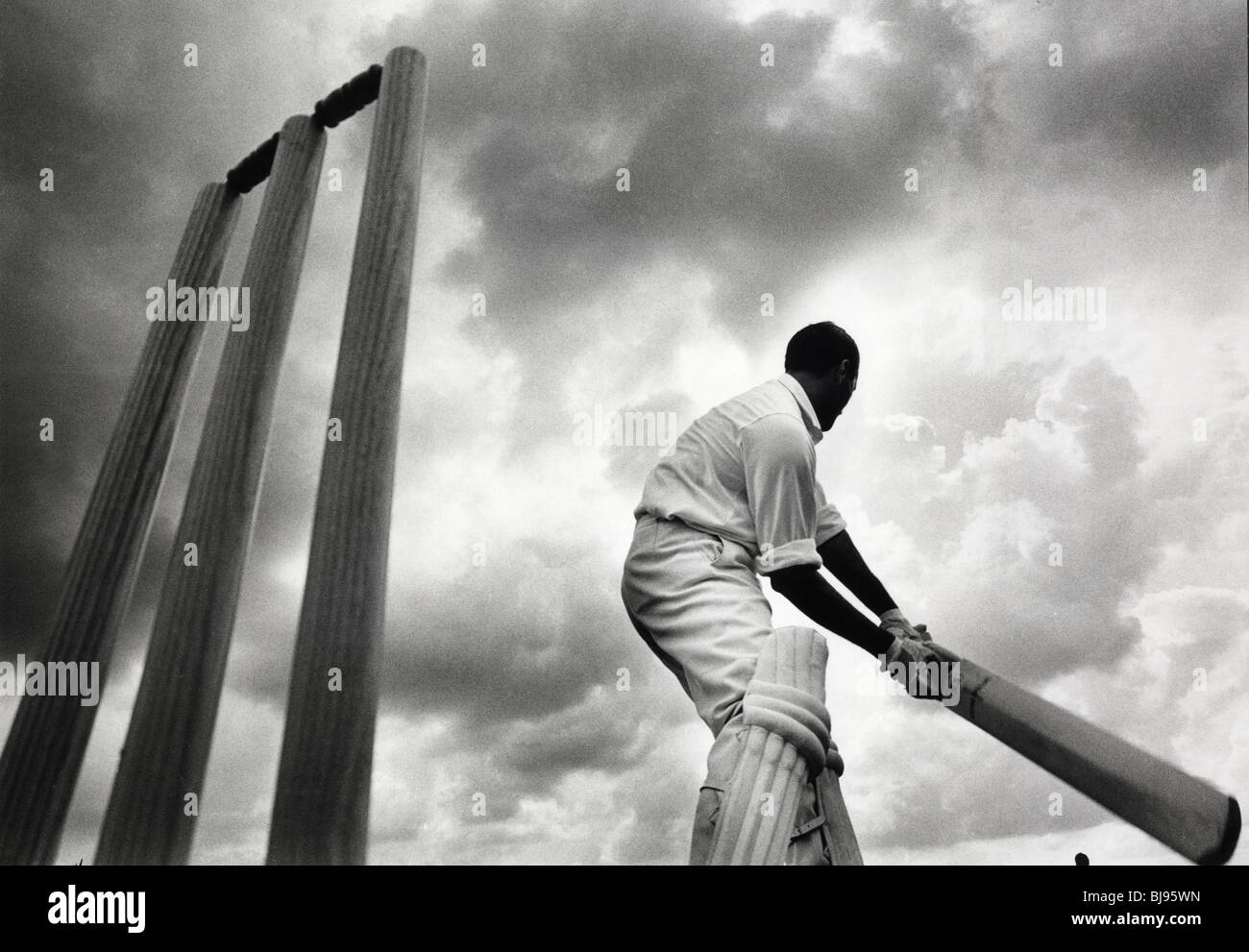 The mixed race cricketer Basil D'Oliveira who  played a major role in bringing down South Africa's apartheid - Stock Image