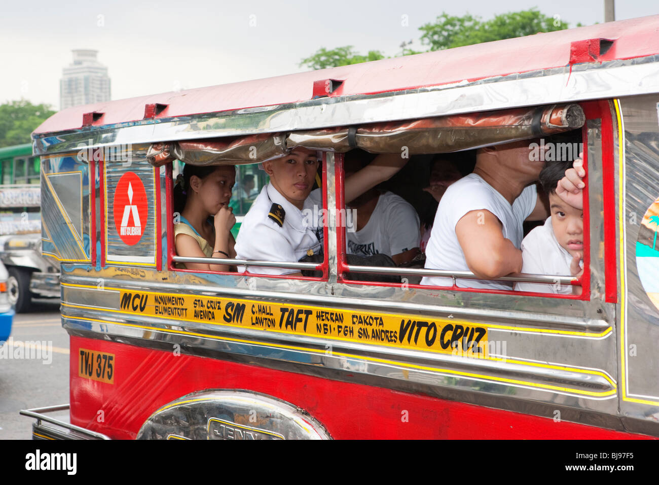 Jeepney's in traffic congestion; Manila; Philippines - Stock Image