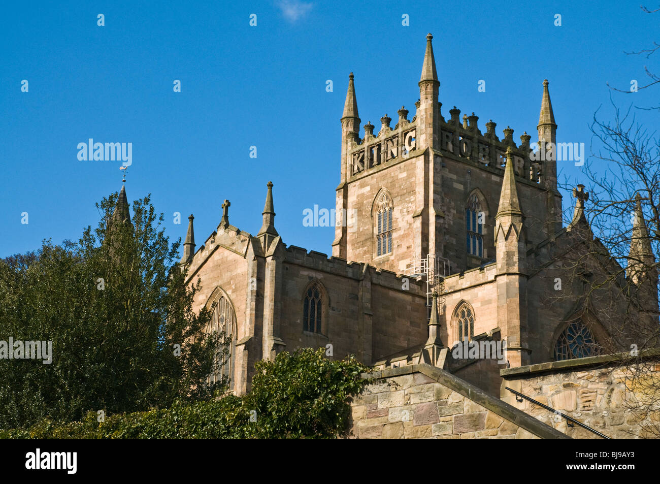 dh Dunfermline Abbey DUNFERMLINE FIFE King Robert inscription Dunfermline Abbey south nave and east wing scotland Stock Photo
