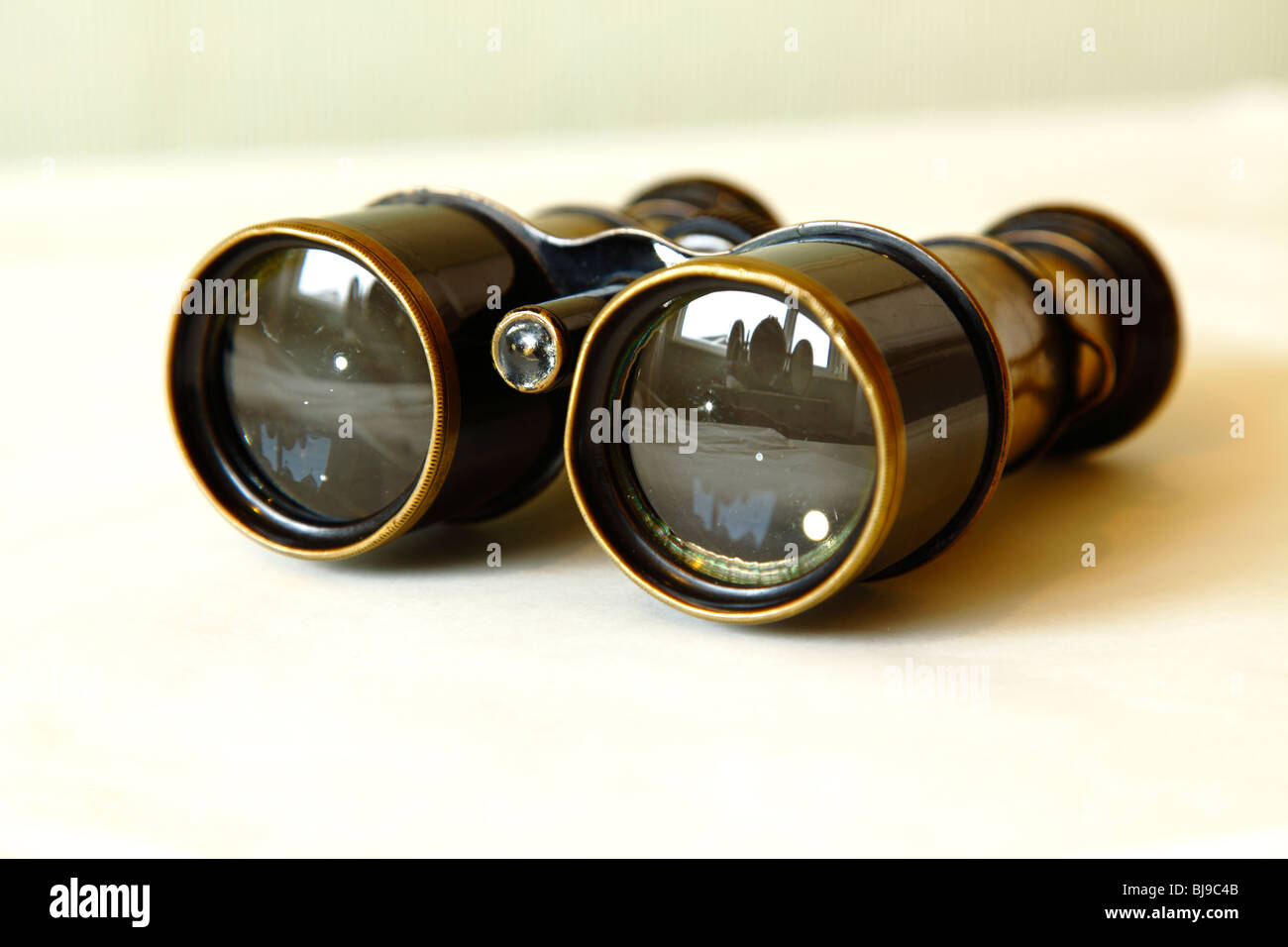 Old brass and steel antique vintage Binoculars or field glasses. - Stock Image
