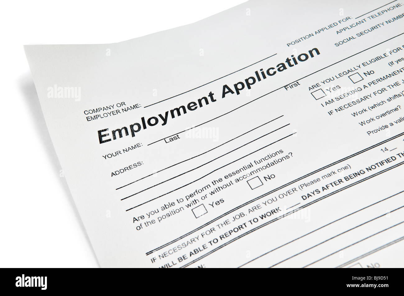 Application for employment over white - Stock Image