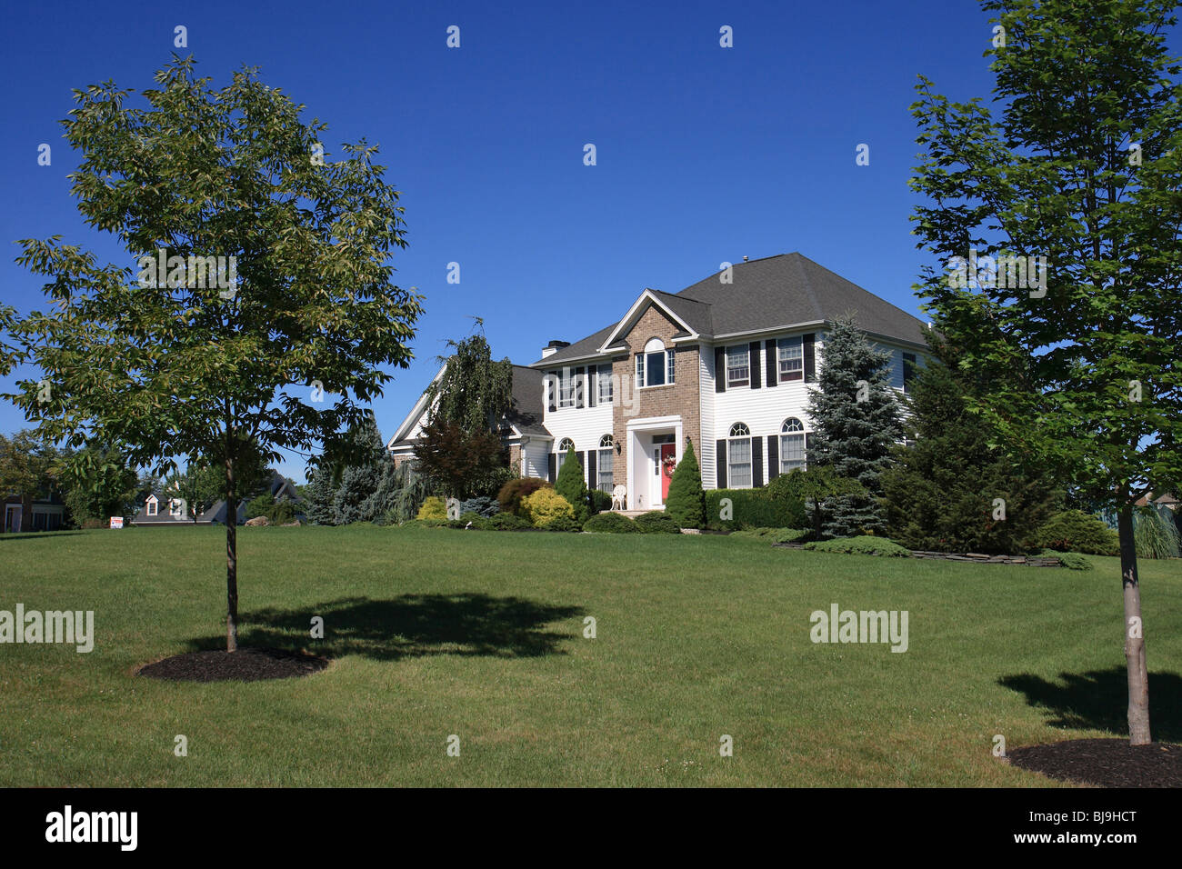 Single family house with a big land plot, USA Stock Photo