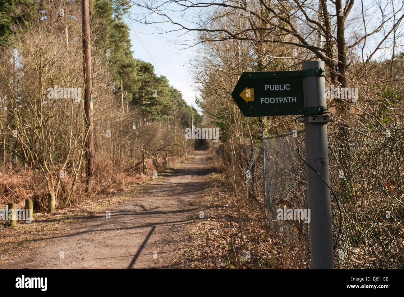Public Footpath sign on The Devil's Highway, Crowthorne Wood, Berkshire - Stock Image