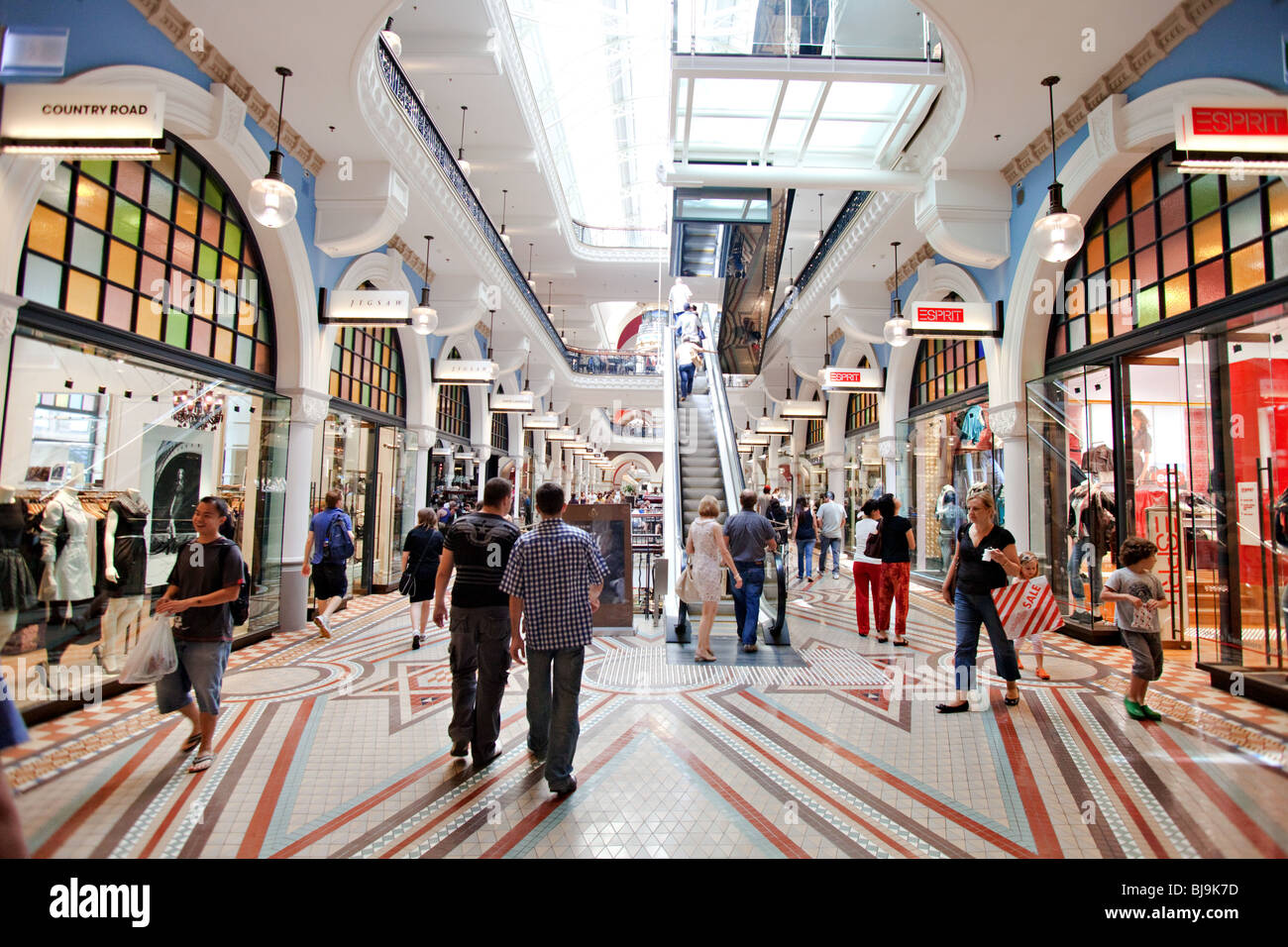 Shopping in Queen Victoria Building Shopping Mall Sydney, Australia - Stock Image