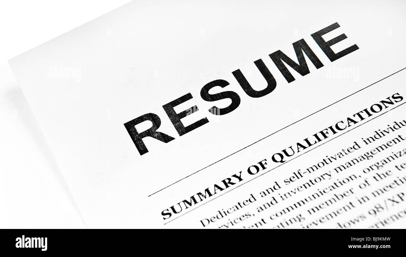 Resume application paper form on white - Stock Image