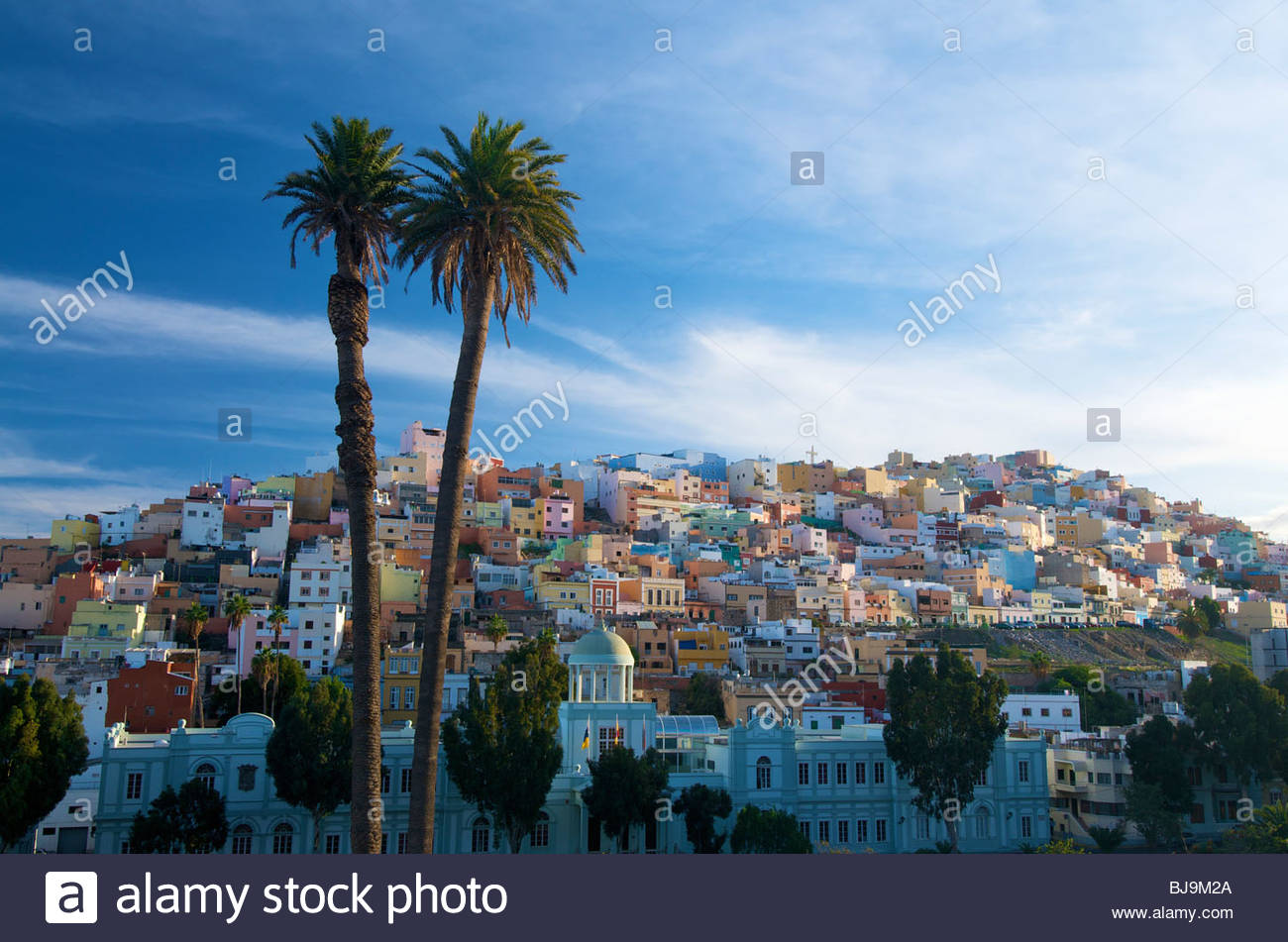 Pastel coloured houses Las Palmas Gran Canaria Canary Islands Spain - Stock Image