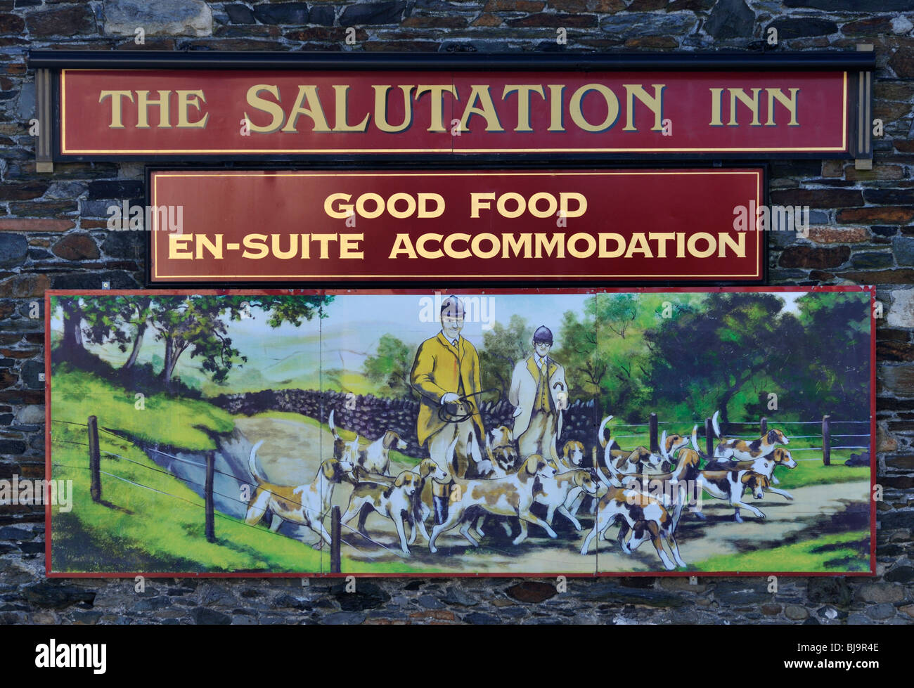 Inn sgn, The Salutation Inn. Threlkeld, Lake District National Park, Cumbria, England, United Kingdom, Europe. - Stock Image
