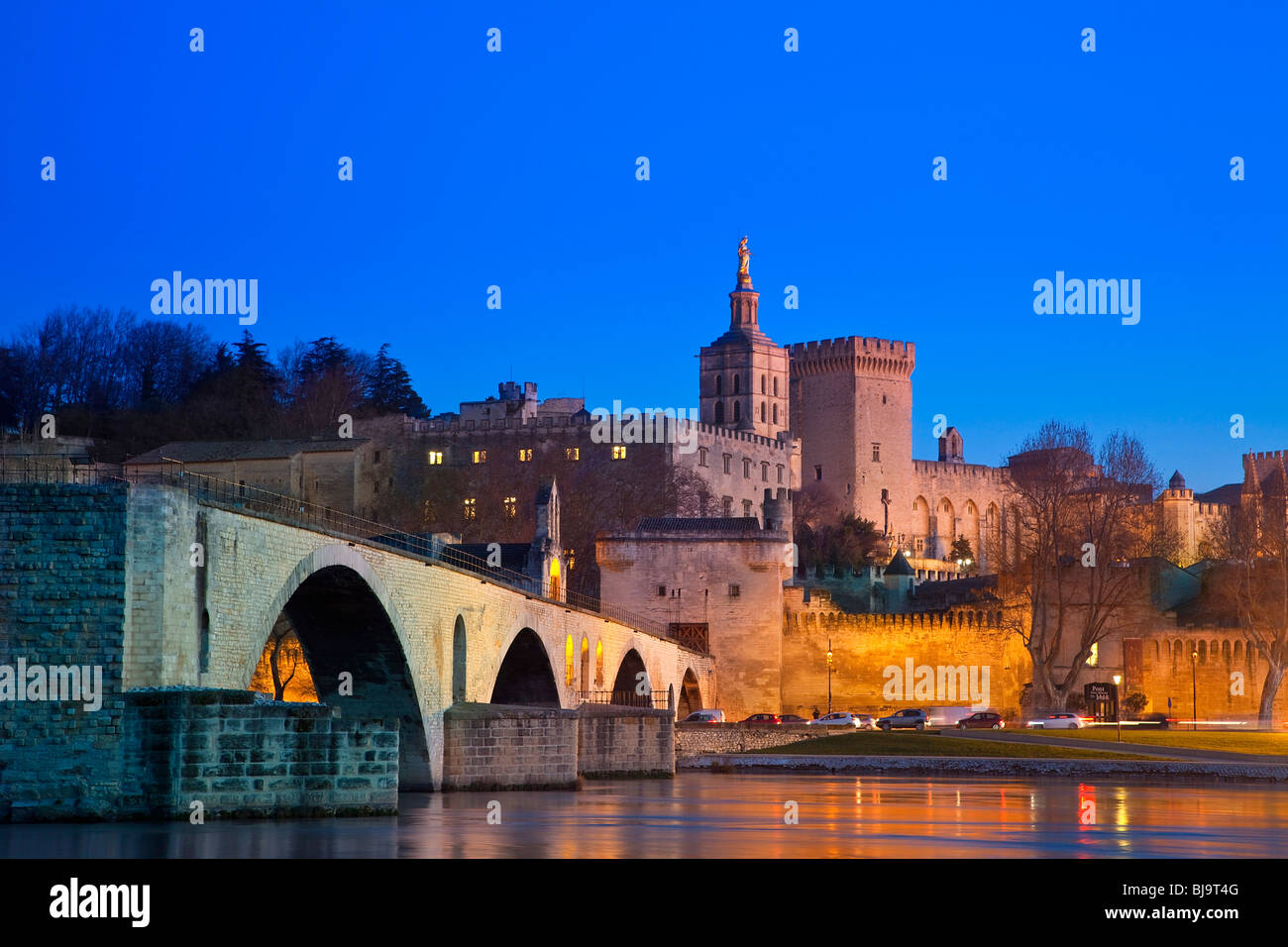 PALAIS DES PAPES AND BENEZET BRIDGE, AVIGNON, FRANCE - Stock Image