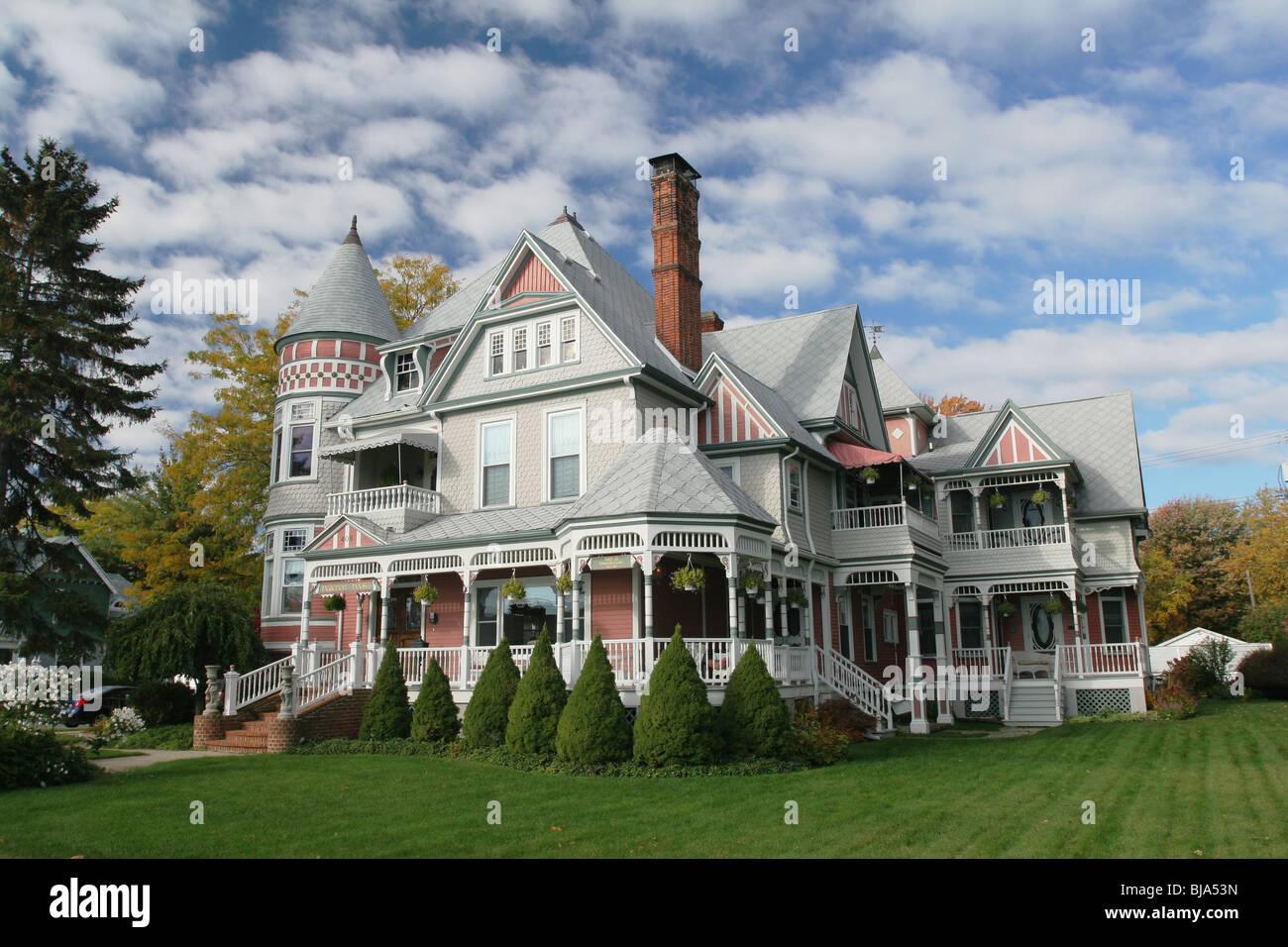 The Heather House. Victorian house in Marine City, Michigan, USA. Possibly available as a Bed and Breakfast site. - Stock Image