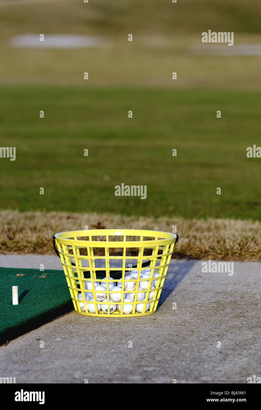 Driving range balls Stock Photo