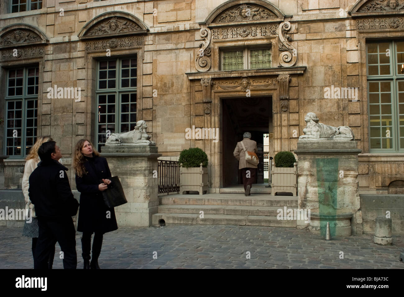 Paris, France, Marais Mansion, Museum of Paris, Front Entrance Courtyard - Stock Image
