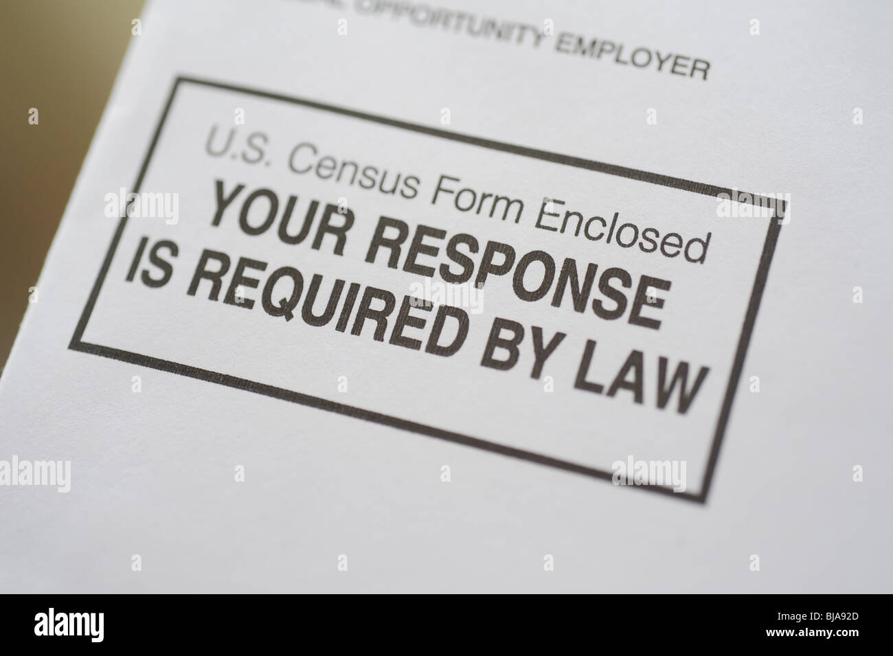 USA Census 2010 envelope sent to every address in America and required by law to fill out and return - Stock Image