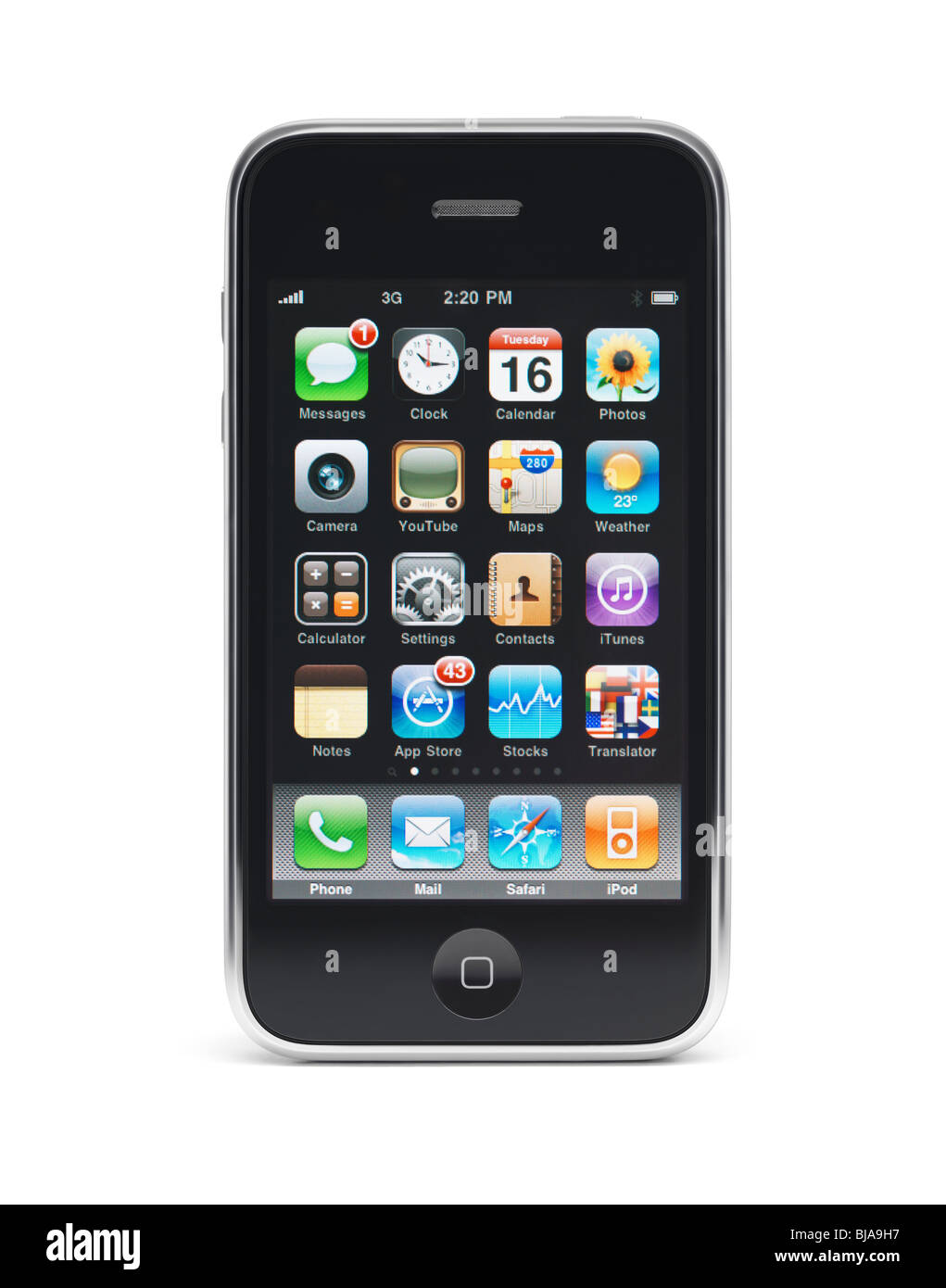 Apple iPhone 3Gs 3G smartphone with apps displayed on the screen isolated with clipping path on white background - Stock Image