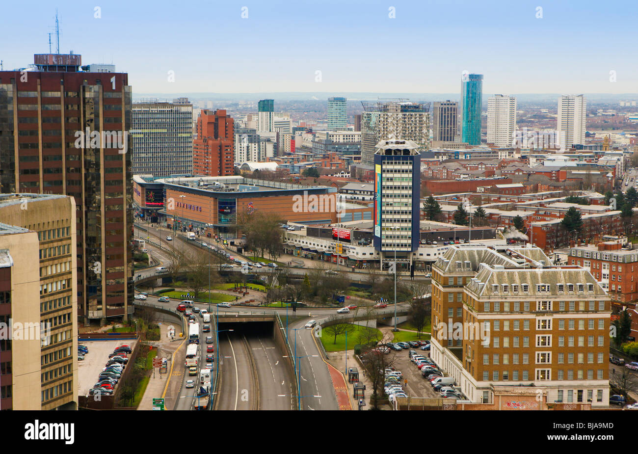Birmingham City Centre as viewed from Hagley Road in Edgbaston, Birmingham - Stock Image