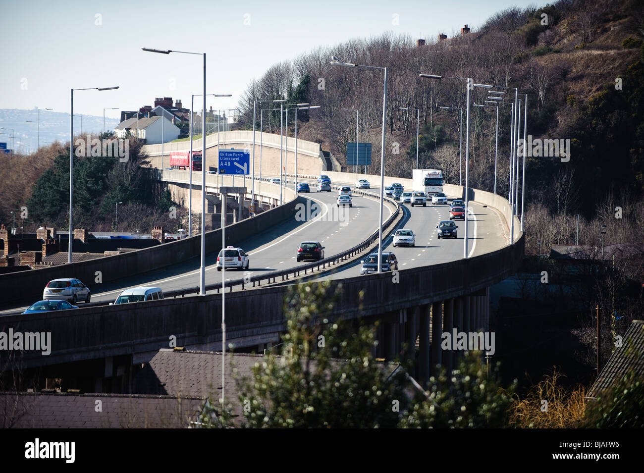 An Elevated section of the M4 motorway at Port Talbot, South Wales, UK - Stock Image