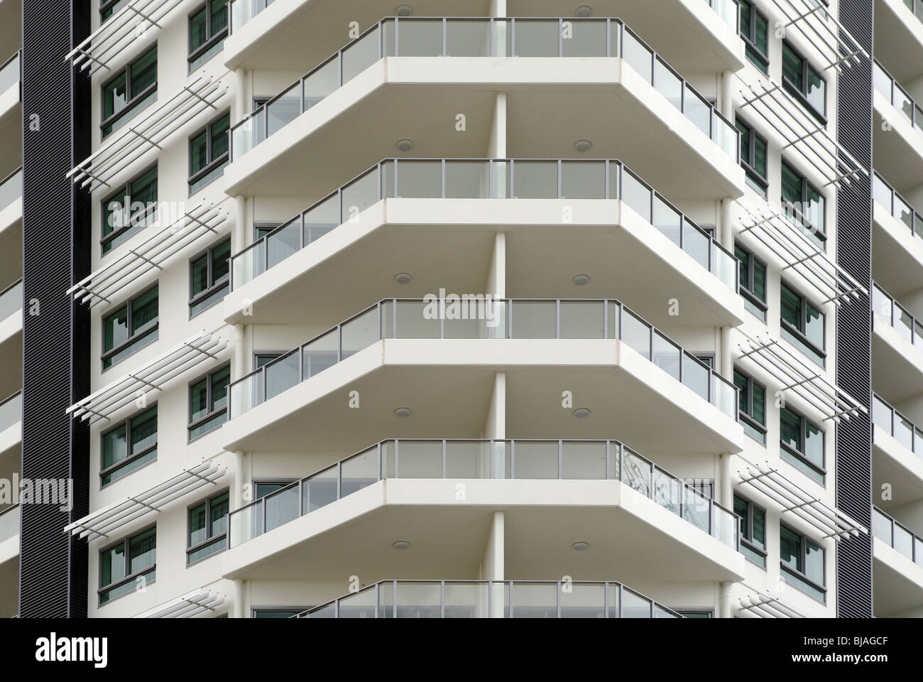 office; building; balconies; white; tall; modern; architecture; business; new; detail - Stock Image