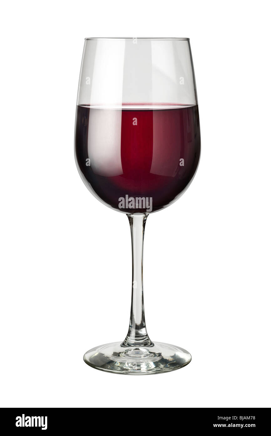 Glass of Red Wine isolated on a white background - Stock Image