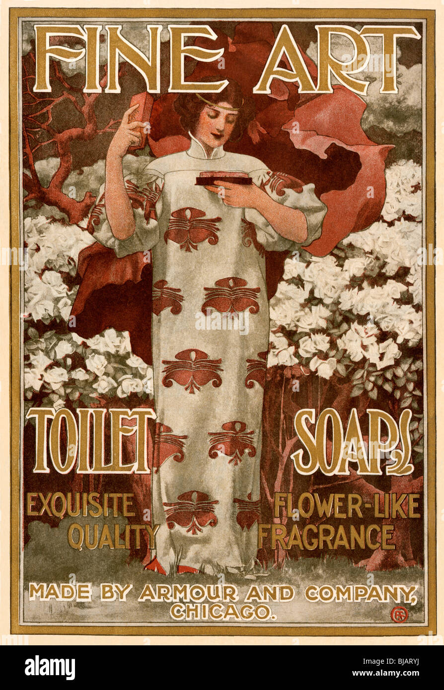 Ad for Fine Art Toilet Soap, 1901. Color lithograph - Stock Image