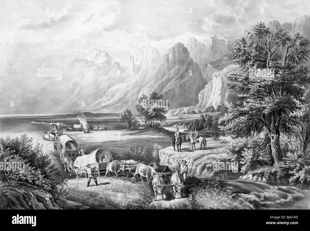 Black and white lithograph print circa 1866 entitled 'The Rocky Mountains - emigrants crossing the plains'. - Stock Image