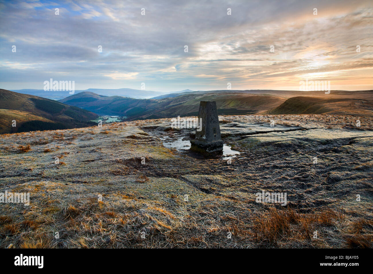 Trig point at the top of Pant y Creigiau mountain in the Brecon Beacons National Park. - Stock Image