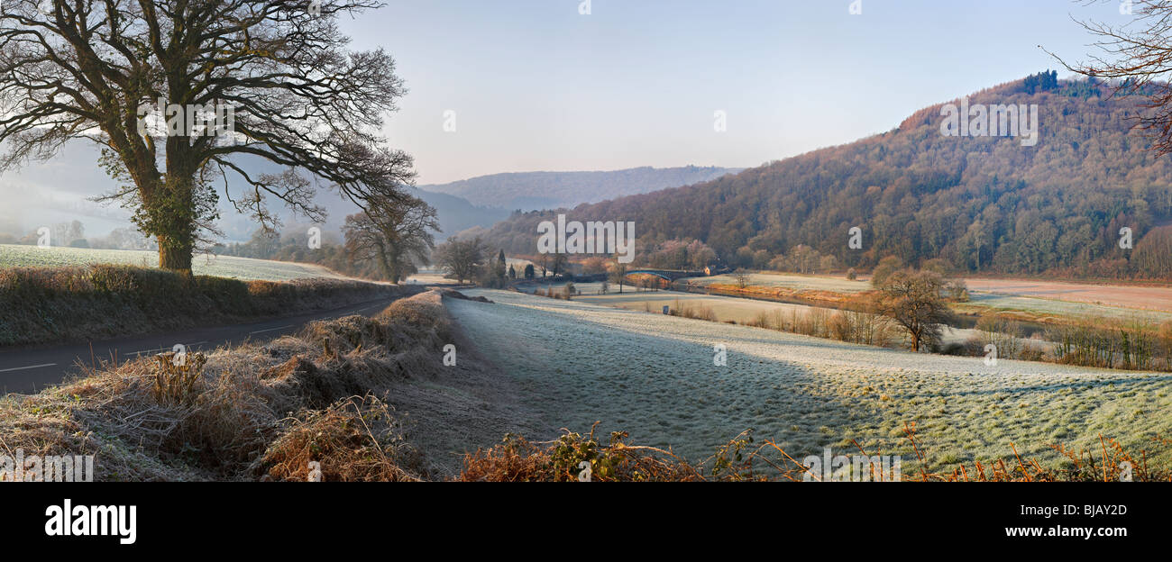 Panoramic image of Bigsweir bridge near Monmouth in the lower Wye Valley on the Monmouthshire / Gloucestershire - Stock Image