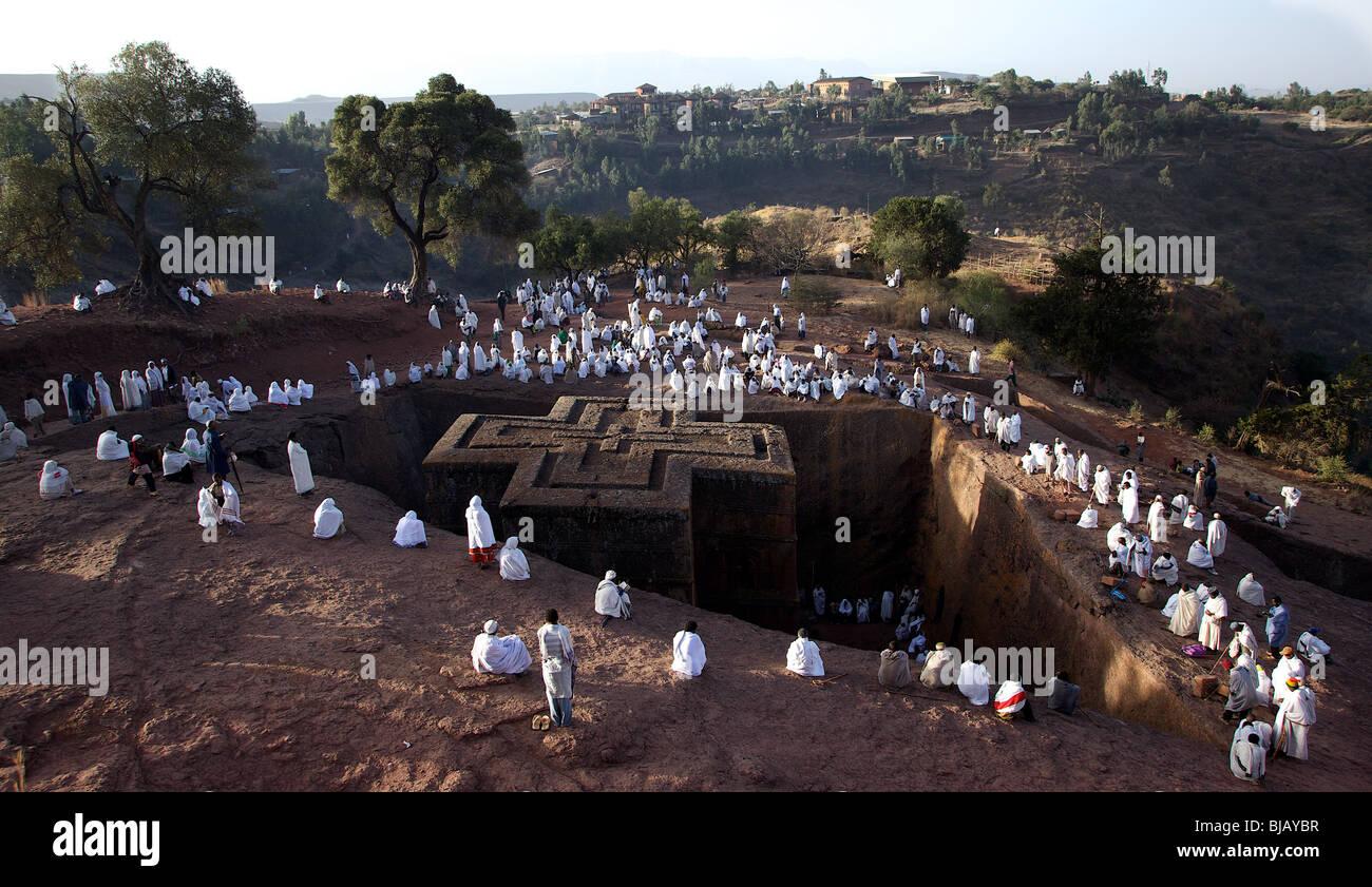 St George's Day at Bet Giyorgis Church, Lalibela, Ethiopia.  Morning Mass. - Stock Image