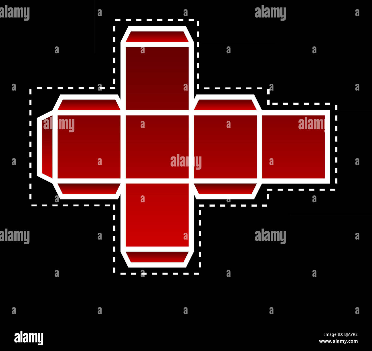 Folding template for red dice in two dimensions, isolated on black background. - Stock Image