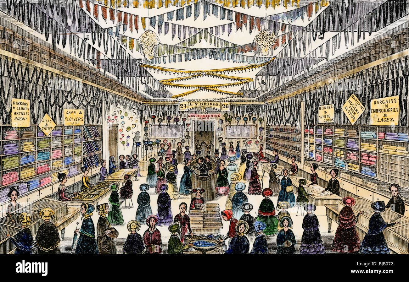 Driggs's Lace & Bonnet Store on Hanover Street, Boston, 1852. Hand-colored woodcut - Stock Image