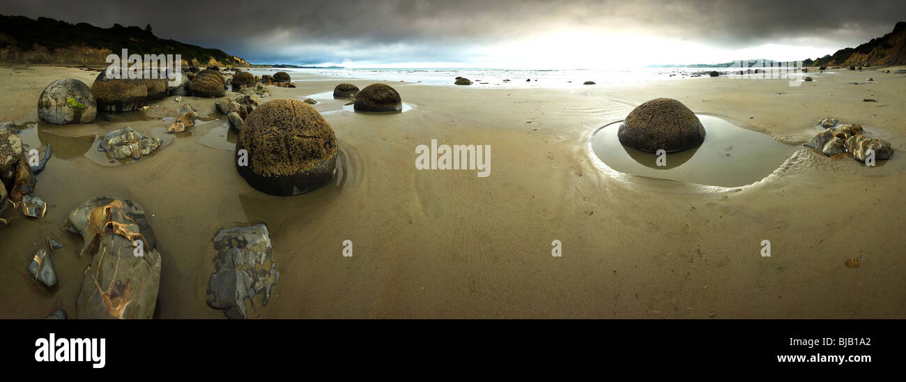 New Zealand, South island, Otago, Moeraki Boulders, Panorama - Stock Image