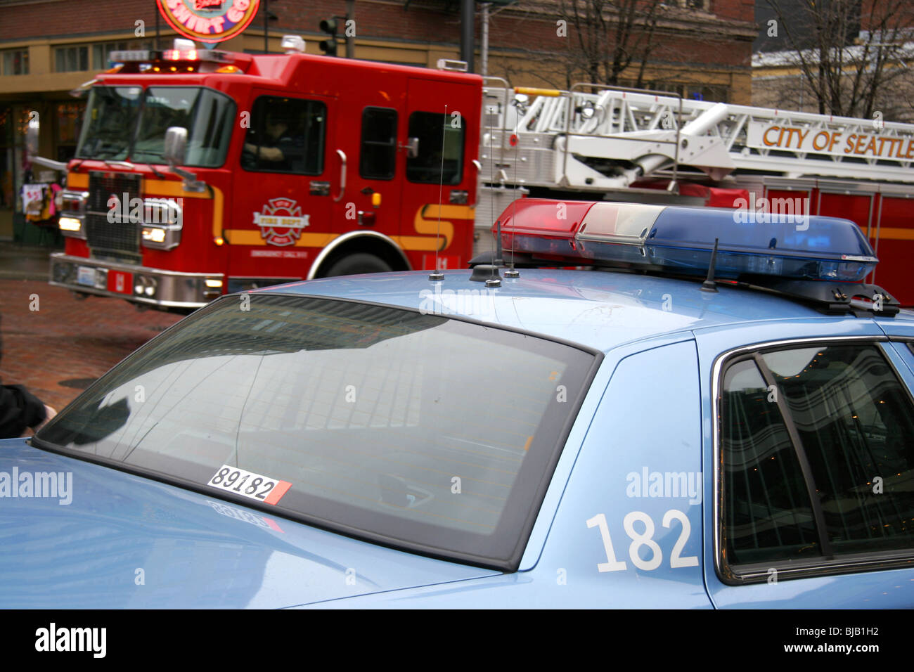 Seattle Police Department car and Seattle Fire Department