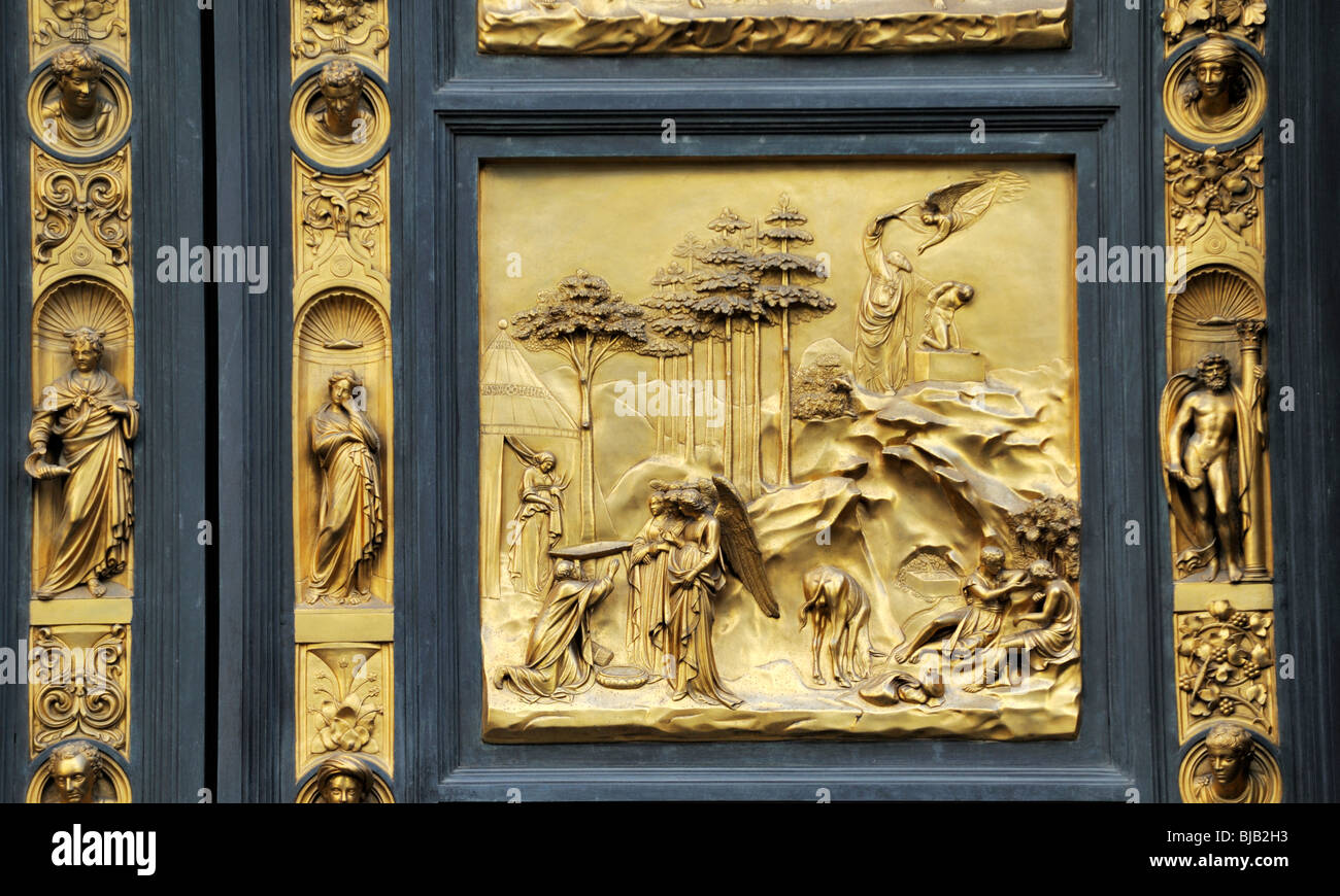 The Baptistry doors, Florence, Italy, now hold these copies of Ghiberti's 15th C Gates of Paradise Old Testament - Stock Image