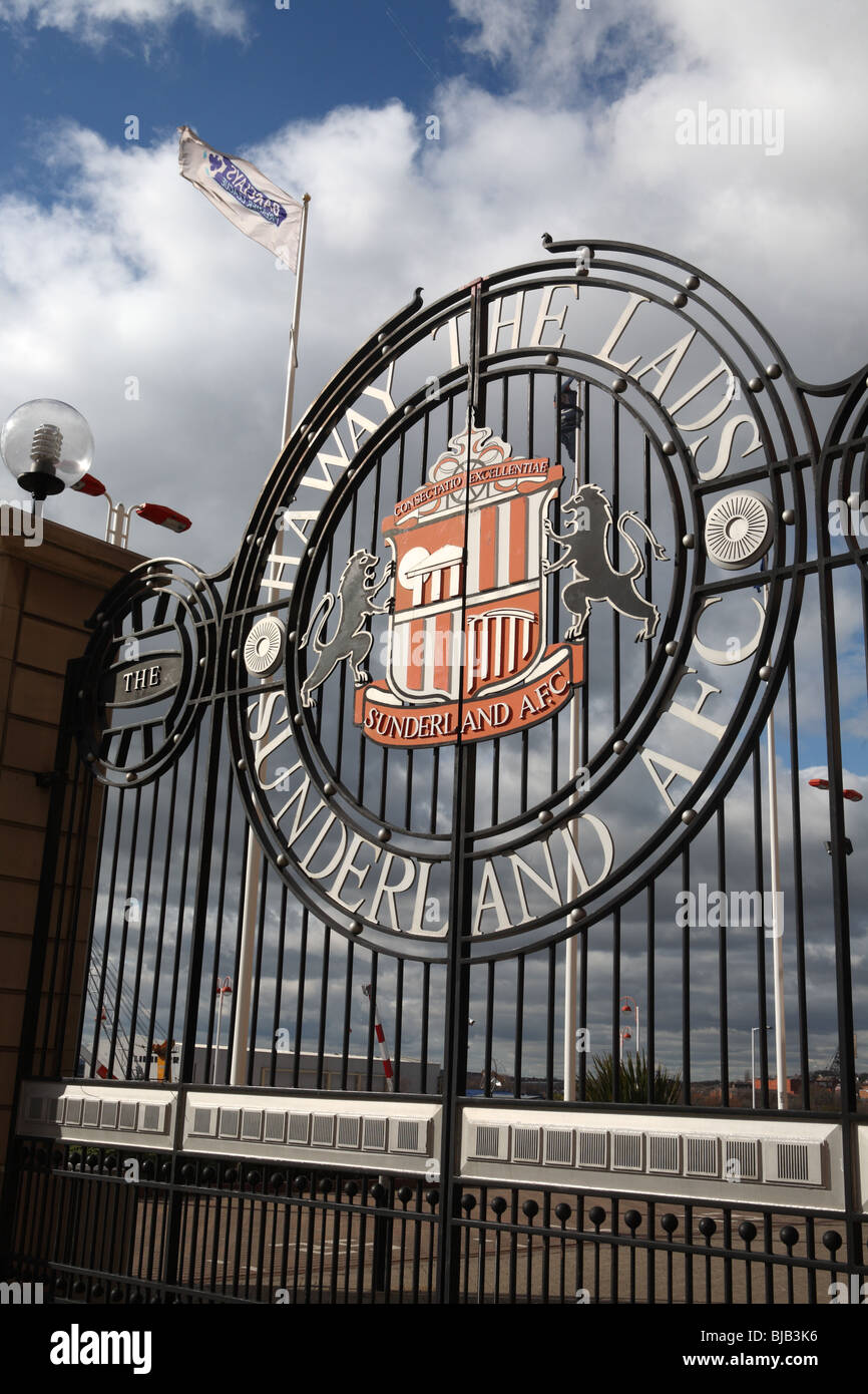 The entrance gate to the Stadium of Light, the home of Sunderland football club, England, UK - Stock Image