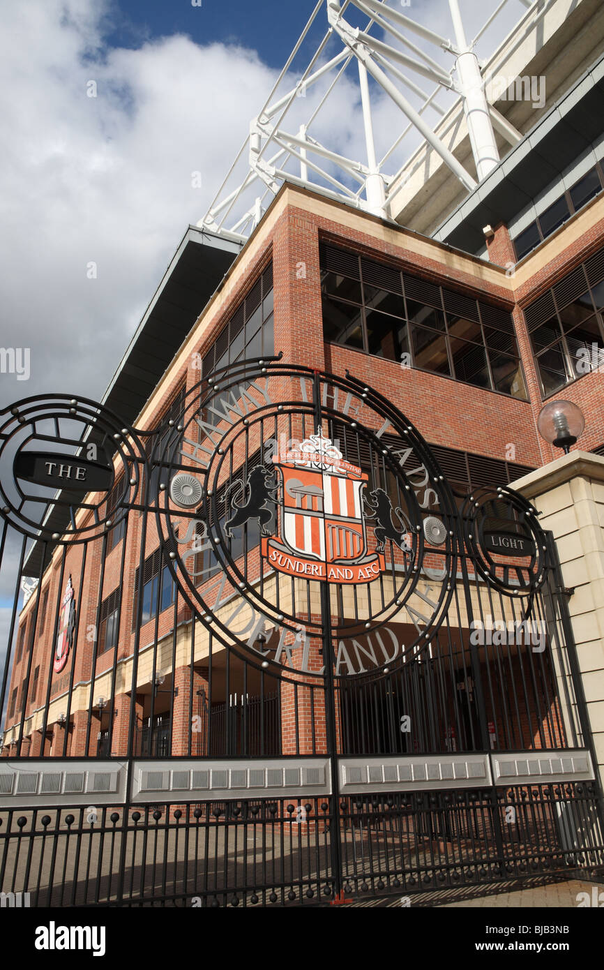 The entrance gate to the Stadium of Light, the home of Sunderland football club, England - Stock Image