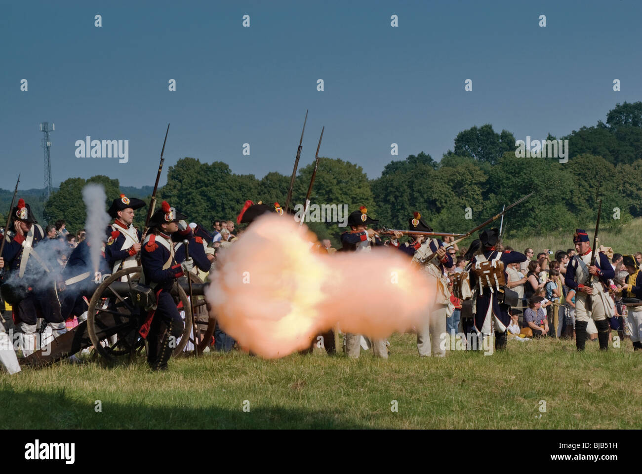 Cannon firing at Reenactment of the Siege of Neisse during Napoleonic War with Prussia in 1807 at Nysa, Opolskie, - Stock Image