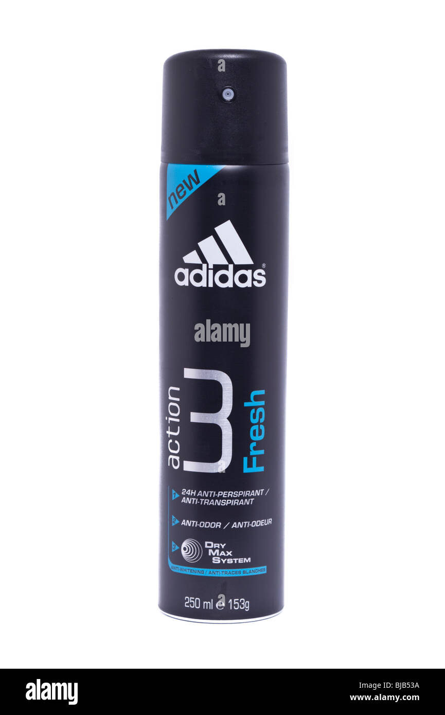 A can of adidas anti-perspirant deodrant on a white background - Stock Image