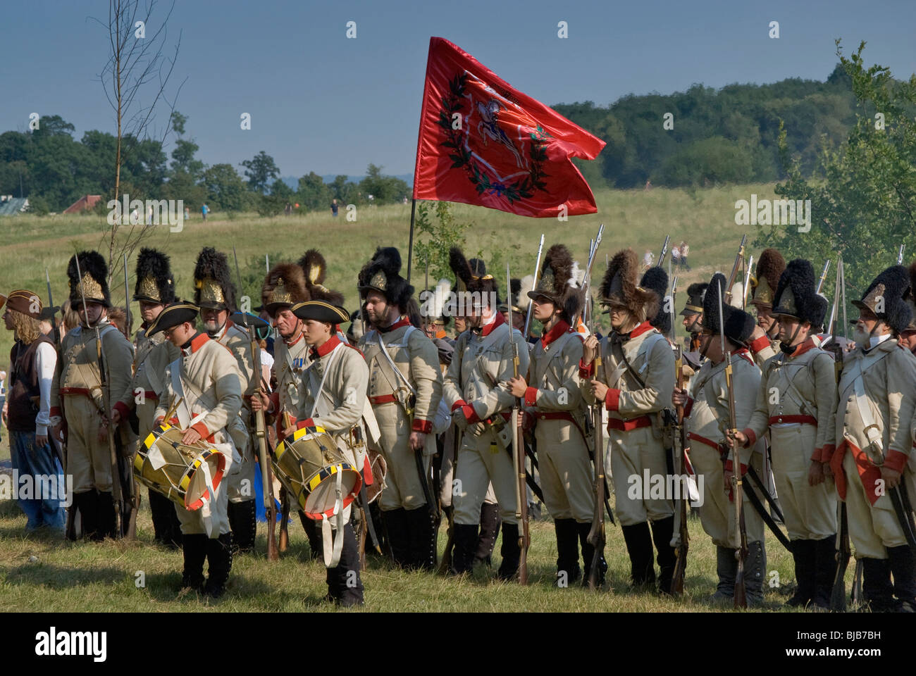 Reenactment of the Siege of Neisse during Napoleonic War with Prussia in 1807 at Nysa, Opolskie, Poland - Stock Image