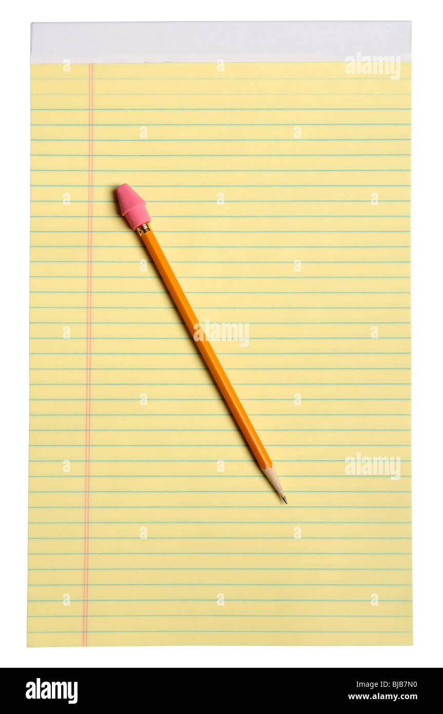 Yellow note pad with yellow pencil and eraser - With clipping path - Stock Image