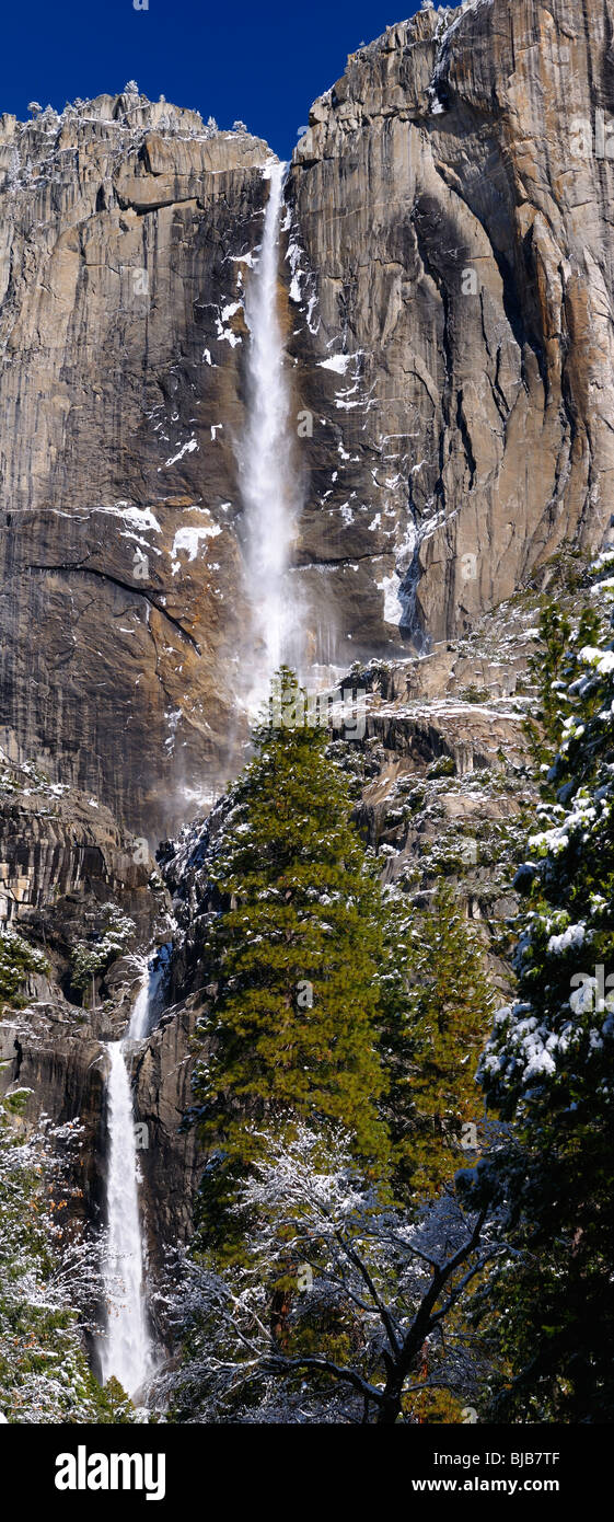Vertical panorama of the Upper and Lower Yosemite Falls in winter Yosemite National Park California USA - Stock Image