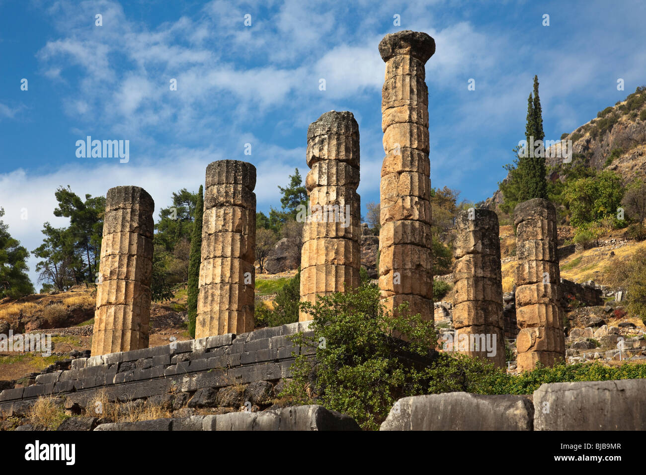 Ruins of Temple of Apollo in Delphi,Greece Stock Photo