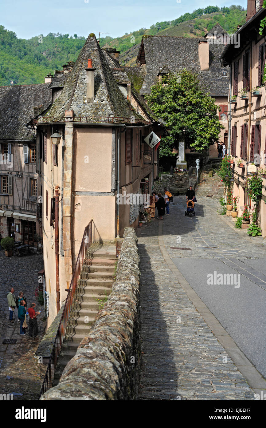 City architecture, houses, street, Conques, France - Stock Image