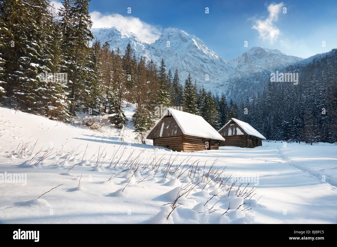 Winter snow mountain landscape with blue sky Tatra Mountains