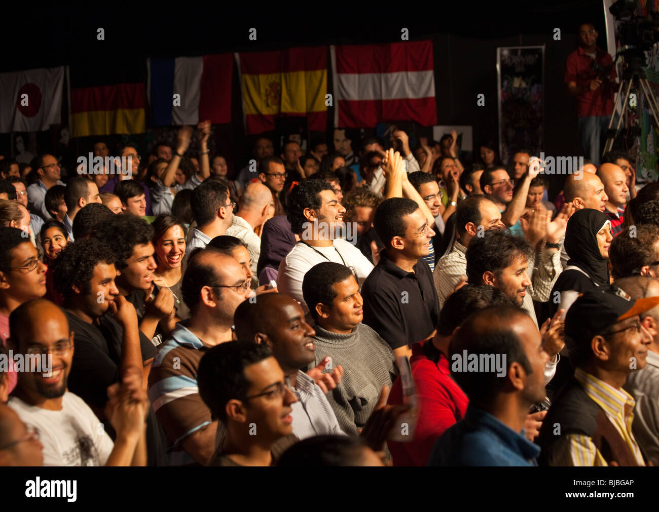 audience listiening to the Royal Crown Revue swing band performing at the Cairo Jazz Festival, Sawi Culture Wheel, - Stock Image