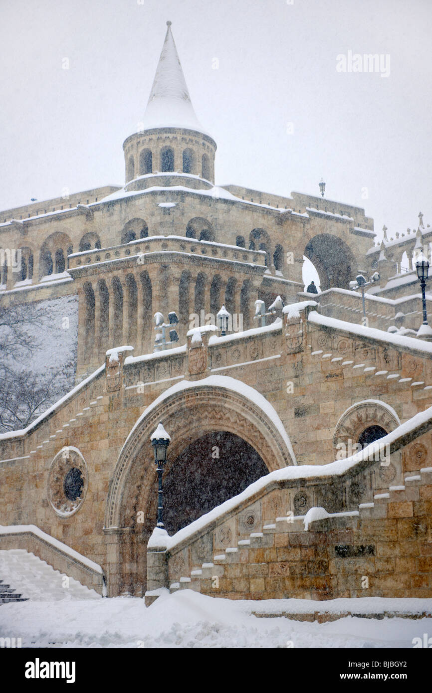 Fisherman's Bastion in the winter snow. Castle district Budapest stock photos - Stock Image