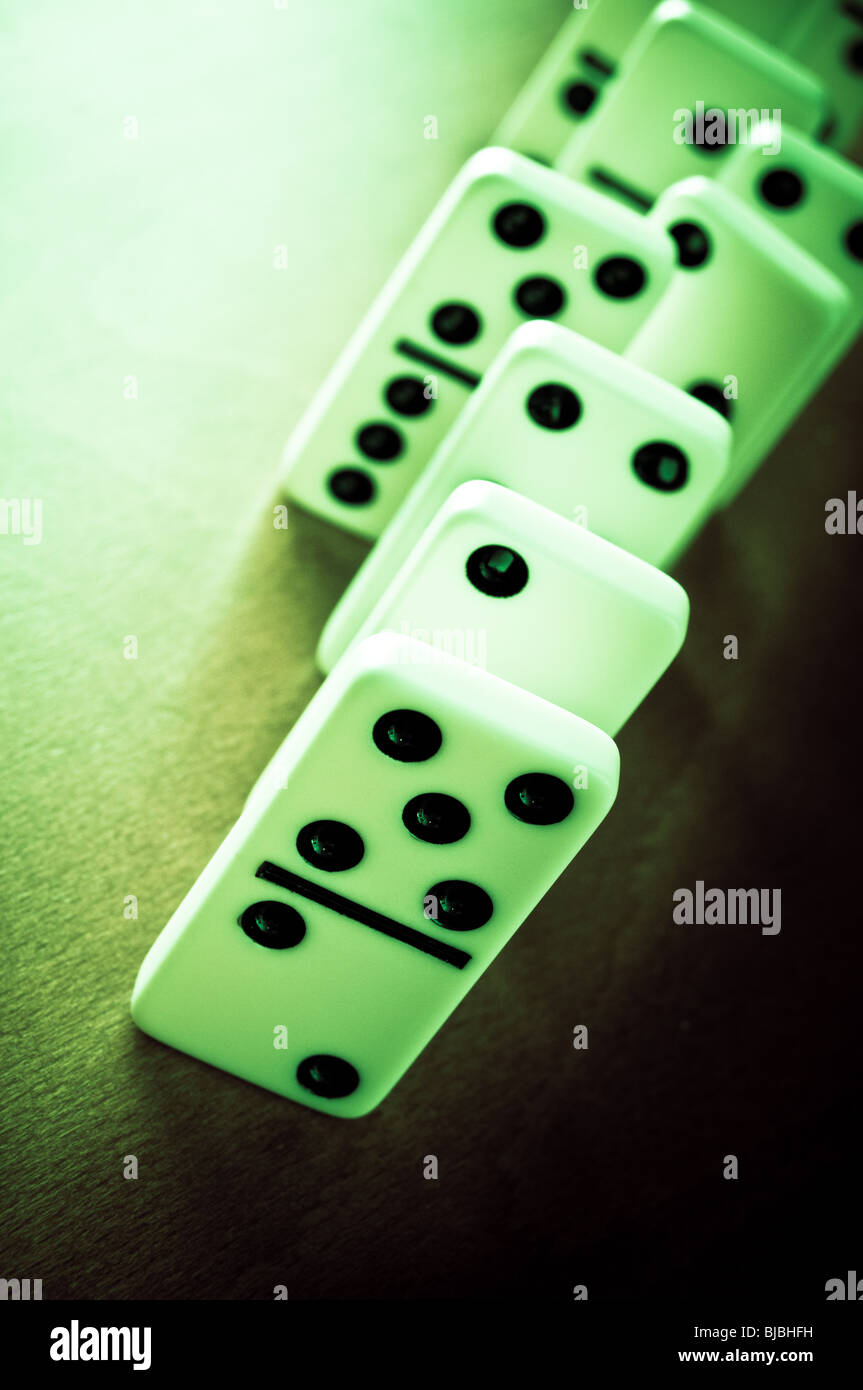 dominoes tiles in a row - Stock Image