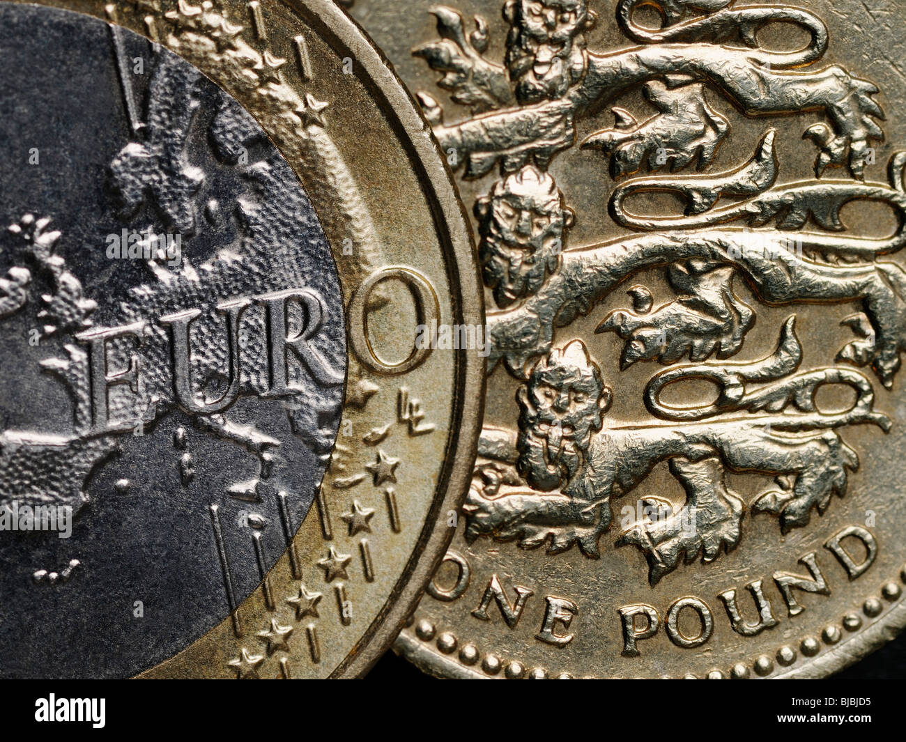Euro and Pound Currencies of Britain and the European Union - Stock Image